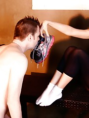 Mistress Tiffany enjoys making her villein worship her smelly and perspired workout shoes
