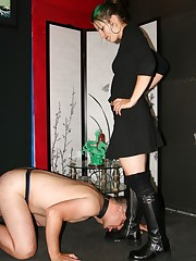 Foot worshipper interrupted mistress` boot