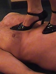 Oh! The pain, painless Mistress tramples her slave the one and the other shod and barefoot and jumps off the furniture to land poignant in excess of..