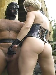 Mistress made two malesubs cum outdoor