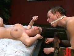 Mistress Sophie Dee humiliates and punishes her cuck with three hot well hung black studs!