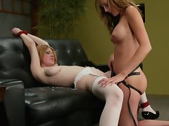 Bad hotel female house slave spanked, foot dominated and ding-dong fucked