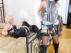 Funky feminized male female house servant services his mistress