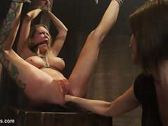 Hung tattooed female slave has her cunt fisted