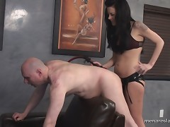 Brunet slut was beating slave and fucked his ass.
