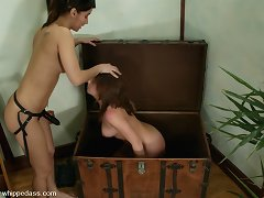 Pretty, all natural Penny Flame is spanked and humiliated