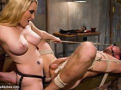 Egotistical slaveboy receives broken down by nasty blond dominant-bitch