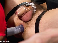 Seductive mastix frustrates, teases and denies slaveboy until that guy thinks this guy will cum in his chastity play belt