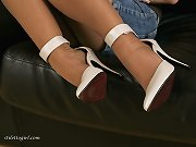 White stiletto heels on a sexy blonde is always a good thing