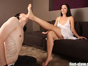 The man licked mistress` foot