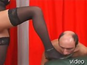 Striking mistress tramping male and then pisses into his wide open mouth