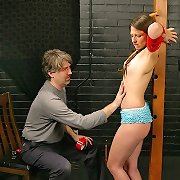 Sexy Lena is tightly restrained and cant stop the el..