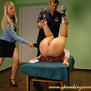 Girl locked and spanked
