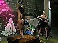 Skin Diamond, the class model is tied up, whipped, caned, tit clamped