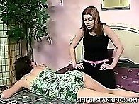 Shannon then grabs Tina on to the bed to spank