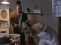 Girl exposed undressed & caned by strict neighbor