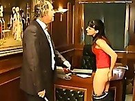 Brunette was punished by cane