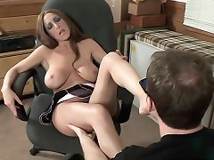 Busty babe Savanna Jane wraps her pretty feet on a huge cock in this hot foot sex video