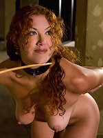 Redheaded slave trained in sexual service to couple.