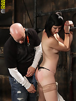 Asian slave tied to a barrel and fucked