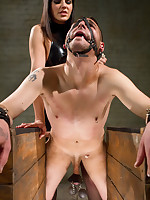 The lady fucked a bad boy and tormented his bound cock by feet