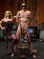 Hammer away blonde dominatrix fucked increased by smothered a compelled panhandler
