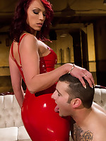 Red latex fuck up puff up made a malesub worship the brush pest with an increment of fuck the brush