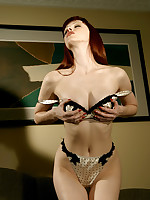 Emily Marilyn stripping out of sexy skivvies in high heels