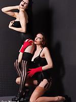 Emily Marilyn & Madeleine Horn Tribade Stocking Lust