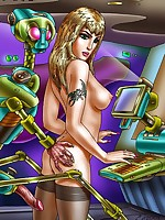 Fantasy art women have sex with robots