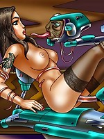 Fantasy art women have futuristic sex