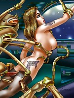 Fantasy art gal molested by aliens
