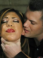 Sexual service for pretty slave in ball gag and rope