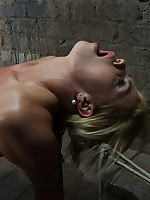 Blonde endures fierce predicament bondage in rope
