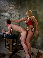 Big ass dominatrix stuffs his face with Pain in the neck