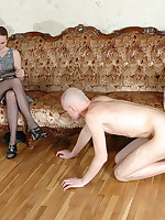 Obedient man gets trampled and face-sat by lady in black nylons
