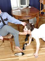 Policewoman dominates nylon-clad suspect