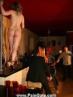 Master punishes slave in the bar