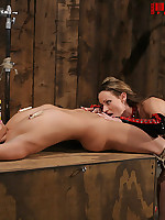 Blonde bound in rope and forced to cum