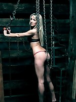 Sexy lady locked in the stocks