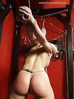 Bare gagged gal gets bondage