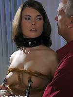 Tight breast bondage, hot wax and sexual submission to an experienced Master