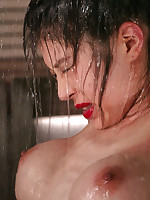 Beautiful Asian submissive submerged in pool while bound.