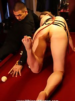 On all fours  for an ass-whipping on the pool table