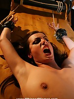 Harsh breast bondage plus a thorough flogging for hapless girl