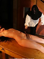 Harsh breast bondage plus a thorough flogging for hapless girl
