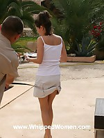 Woman whipped outdoors, welts across her belly