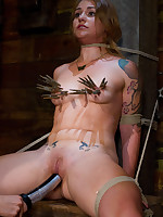 Bondage, clips and electric pussy torture for submissive girl