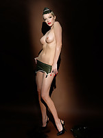 Emily Marilyn stripping broadly be proper of rubber military uniform