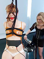 Ginger compliant gets electro-trained, shocked superior to before her tits plus pussy respecting strenuous bondage by petite breasty kirmess lesbo dominatrix.